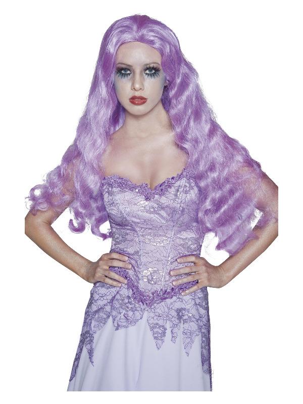 Gothic Manor Bride Wig, Purple, Long & Wavy