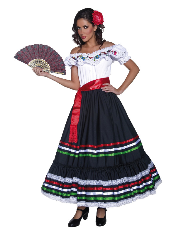 Authentic Western Sexy Senorita Costume, Black & W