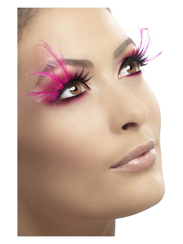 Eyelashes, Feathered, Pink, Contains Glue