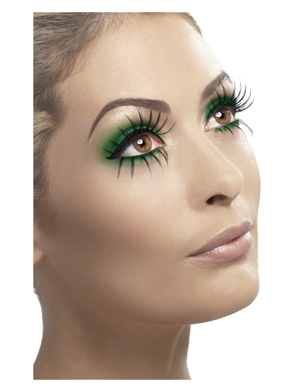 Eyelashes, Top and Bottom Set, Long, Black, Contains Glue