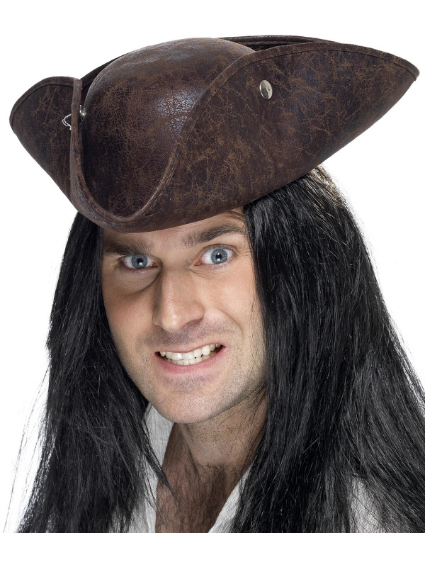 Pirate Tricorn Hat, Brown, Broken Leather Look