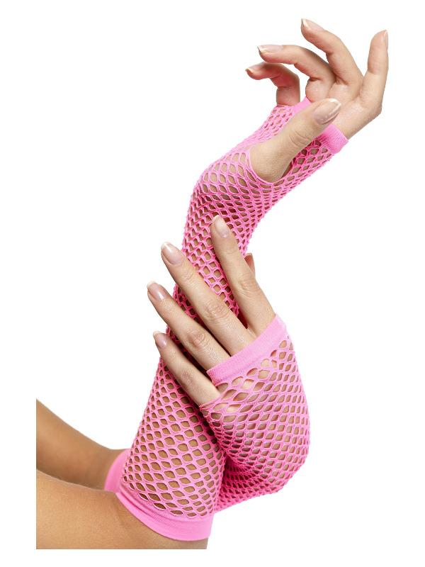 Fishnet Gloves, Pink, Long