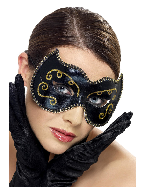 Persian Eyemask, Black, with Glitter Effect and Braided Edge