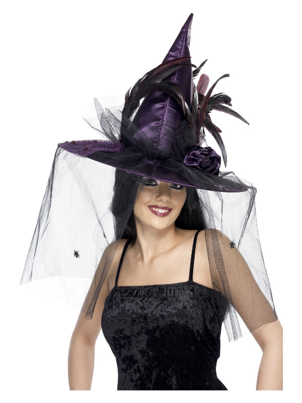 Witch Hat, Purple, with Feathers & Netting, Deluxe
