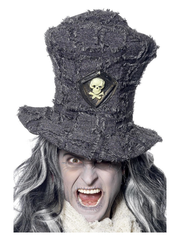 Gravedigger Top Hat, Grey, with Skull Emblem