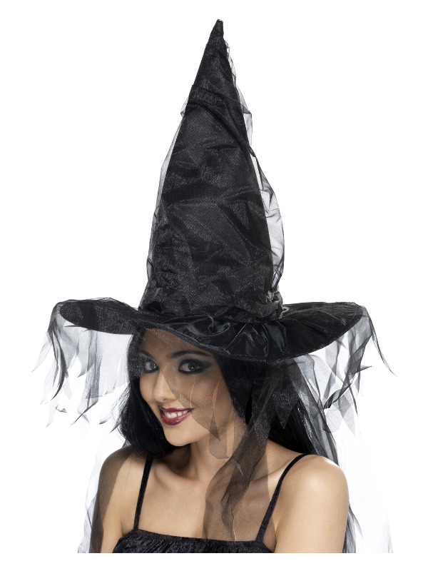 Witch's Hat, Black, with Netting