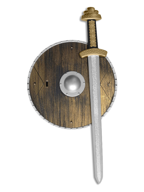 Weapons Set, Brown, with Sword & Wood Effect Shield, 39cm/15in