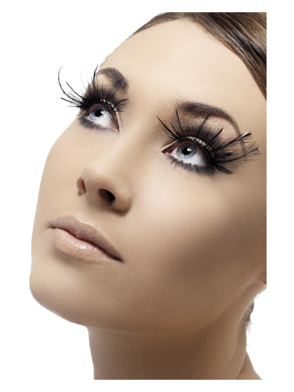 Eyelashes, Black, with Feather Plumes, Contains Glue