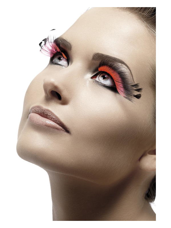 Eyelashes, Black & Pink, Feather Plume, Contains Glue