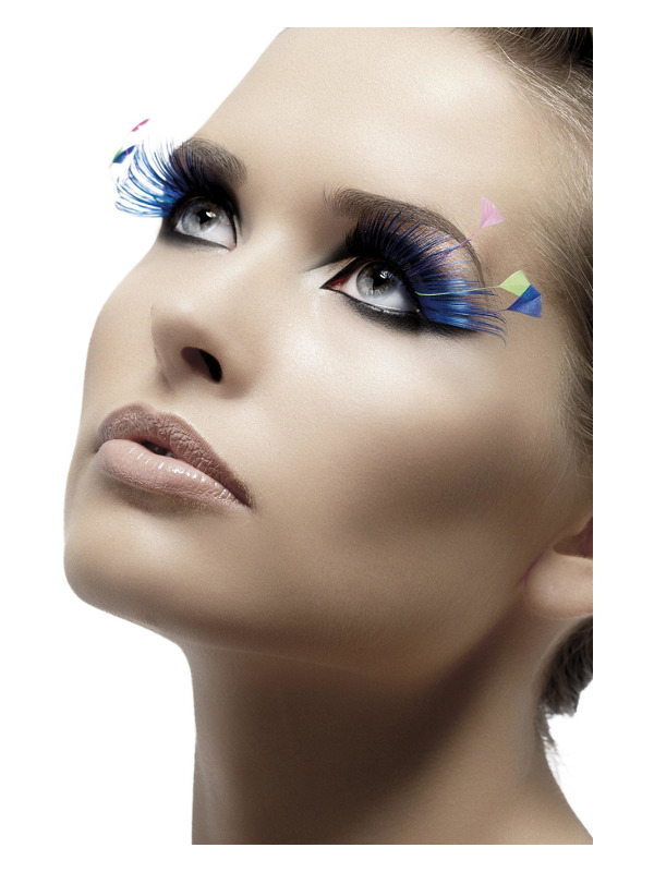 Eyelashes, Blue, with Feather Plumes, Contains Glue