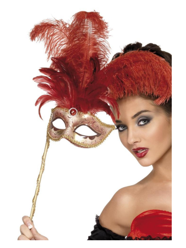 Baroque Fantasy Eyemask, Red, with Feathers and Handle