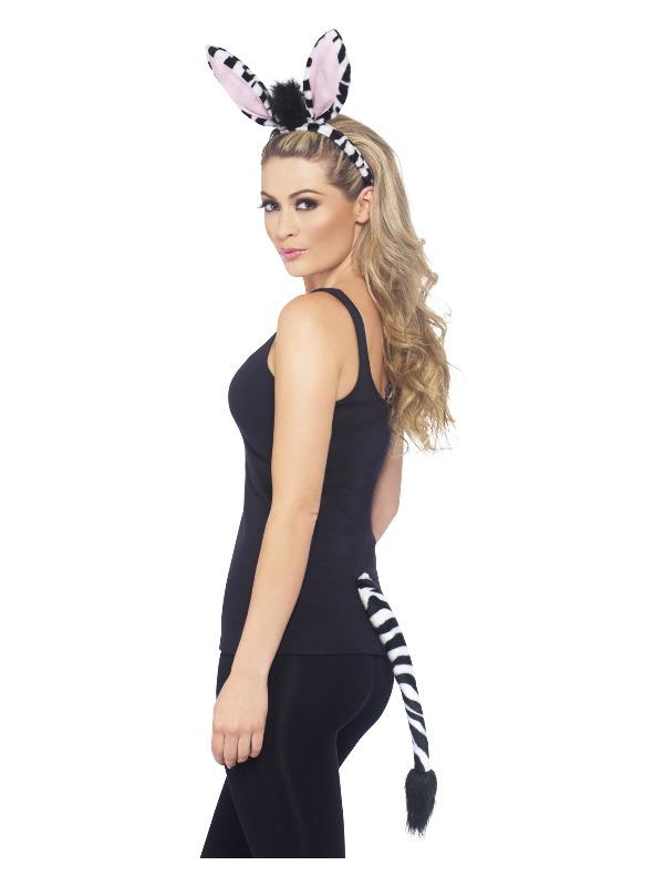 Zebra Kit, Black & White, with Headband & Tail