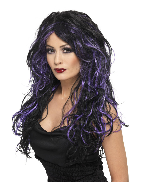 Gothic Bride Wig, Purple, Long, Streaked