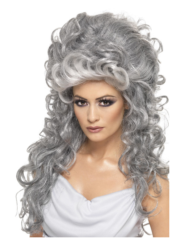Medeia Witch Beehive Wig, Grey, Long & Curly with Beehive Top
