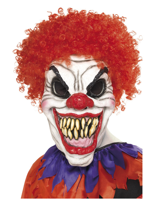 Scary Clown Mask, White & Red, Overhead, Foam Latex