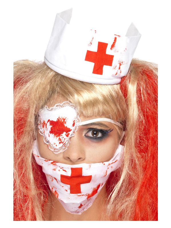 Bloody Nurse Kit, White, with Mask, Headpiece & Eyepatch, Blood Effect