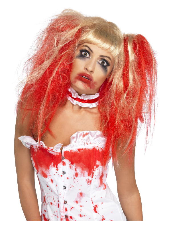 Blood Drip Wig, Blonde, with Bunches & Blood Drip Effect