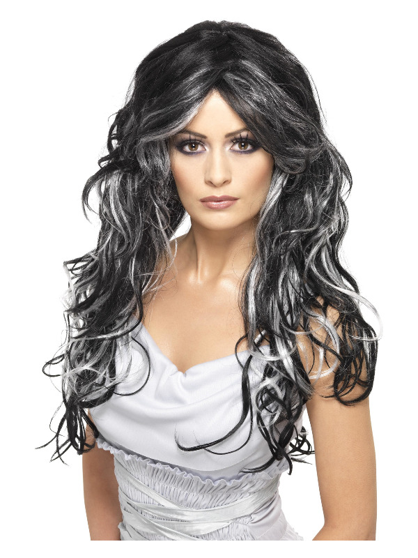 Gothic Bride Wig, Black & White, Long & Streaked