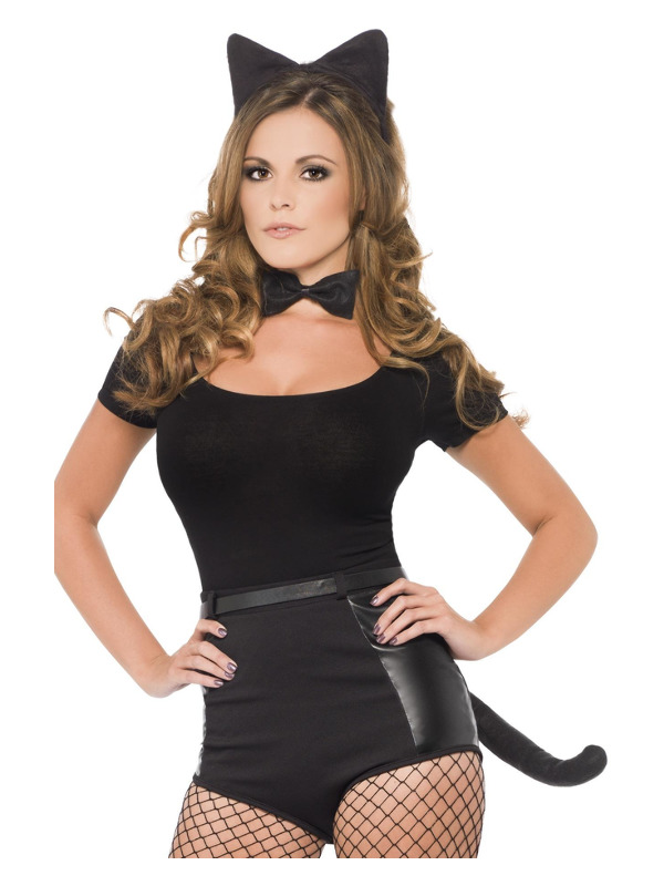Cat Set, Black, Fur, with Ears, Tail & Bow Tie