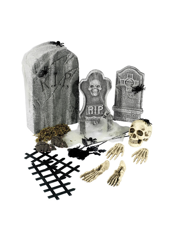 24 Piece Graveyard Collection, Grey, with Tombstones & Accessories