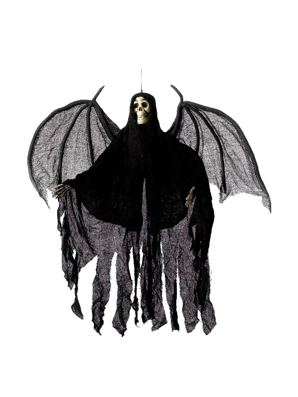 Hanging Skeleton Angel Decoration, Black, with Hooded Robe & Wings, Height 105cm