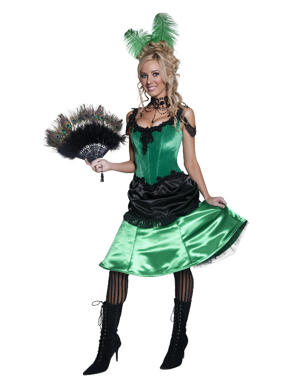 Authentic Western Saloon Girl Costume, Green
