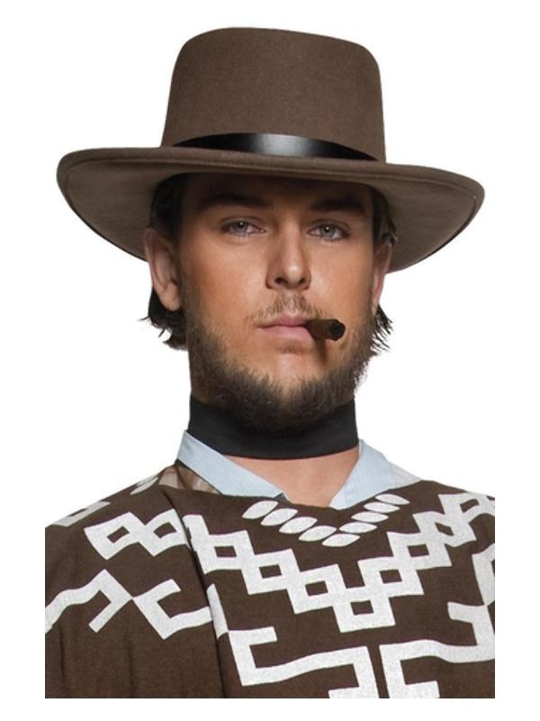 Authentic Western Wandering Gunman Hat, Brown, with Black Rim