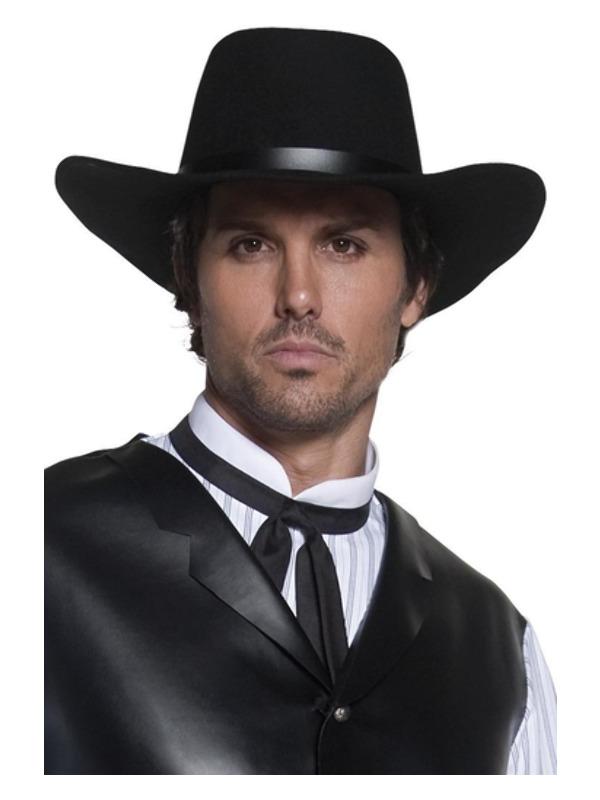 Authentic Western Gunslinger Hat, Black, Wide Brimmed