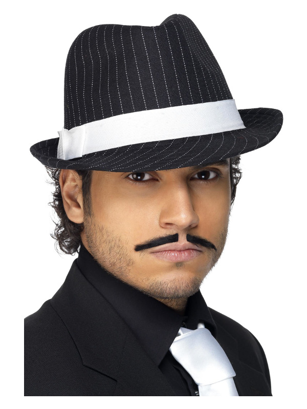 Deluxe Trilby Hat, Black, White Pinstripe and White Band