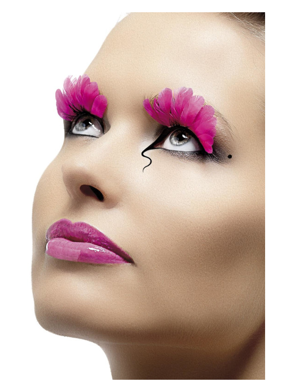 Eyelashes, Neon Pink, Feather, Contains Glue