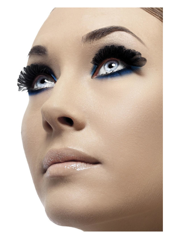 Feather Eyelashes, Black, Small, Contains Glue