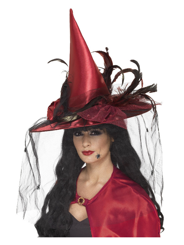 Witch Hat, Deep Red, with Net & Feathers, Deluxe