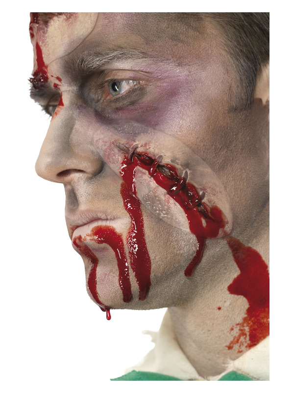 Smiffys Make-Up FX, Self Stitched Up Latex Scar, Red, with Blood, Self Adhesive