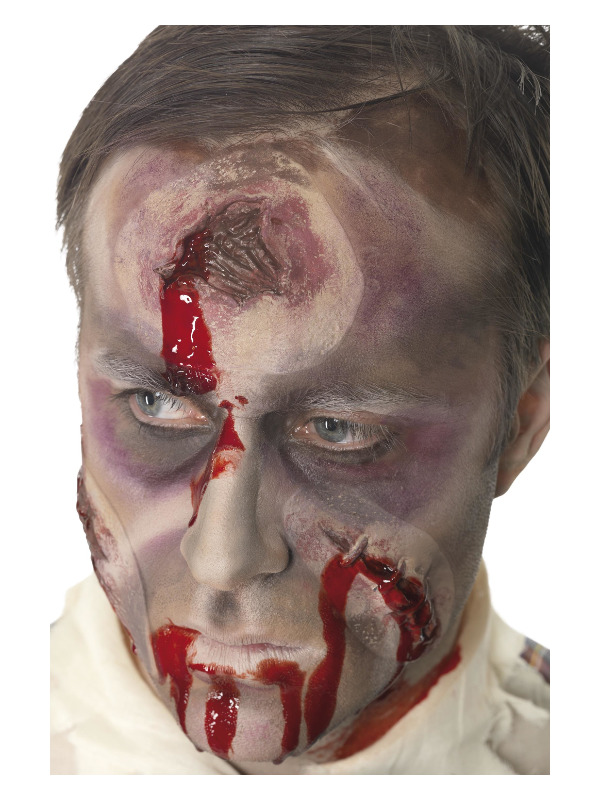 Smiffys Make-Up FX, Hole in The Head/Bullet Wound Latex Scar, Red, with Blood, Self Adhesive