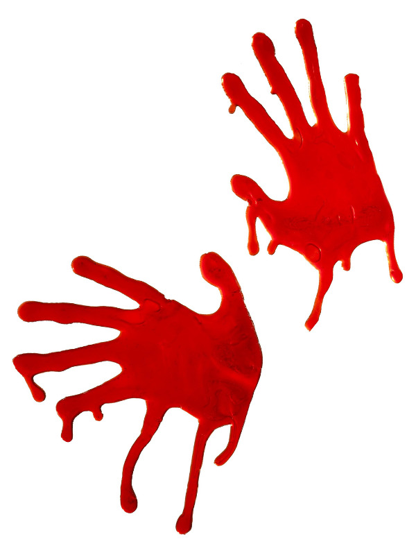 Horrible Blooded Hands, Red, For Window Decoration Only