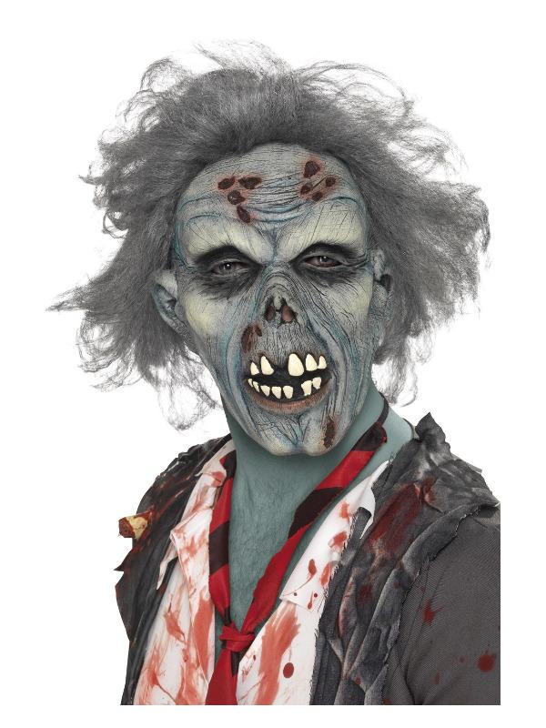Decaying Zombie Mask, Grey, Overhead, Latex