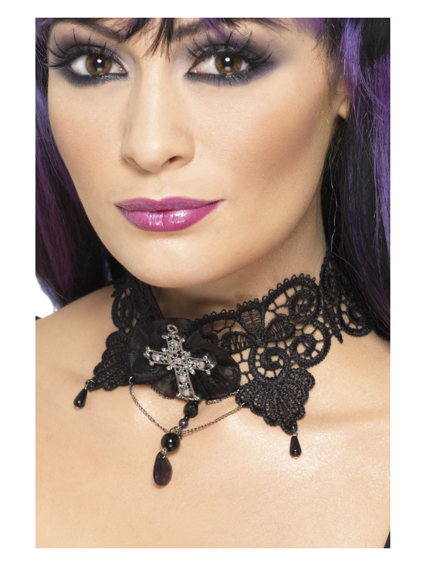 Gothic Lace Choker, Black, Ornate with Jewelled Cross