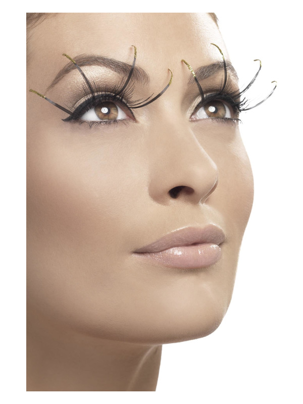 Eyelashes Long with Golden Tips, Black, contains Glue