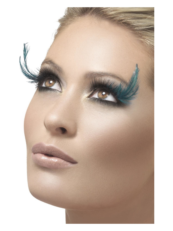 Eyelashes, Black & Green, with Feather Plume, Contains Glue