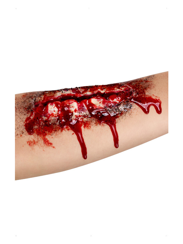 Smiffys Make-Up FX, Open Wound Latex Scar, Red, with Adhesive