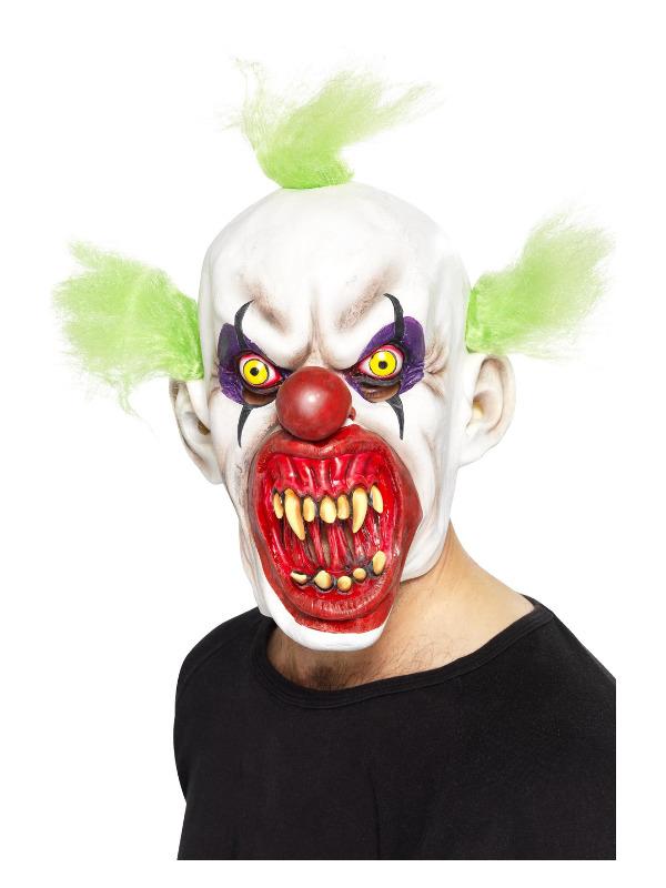 Sinister Clown Mask, White, Overhead, Latex