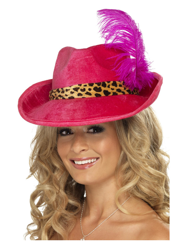 Pimp Hat, Pink, with Feather and Animal Print Band