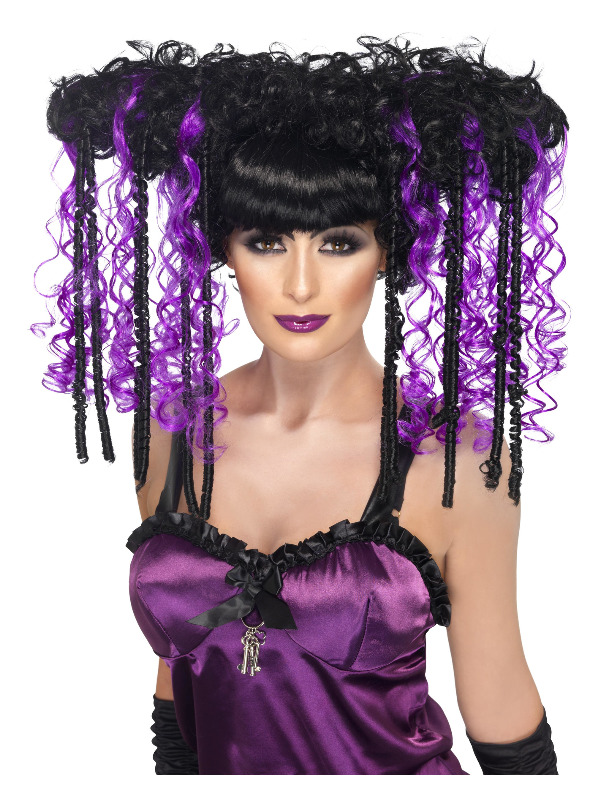 Gothic Emo Wig, Purple & Black, Curly