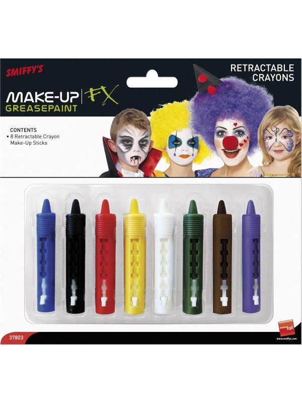 Smiffys Make-Up FX, Face/Body Retractable Crayon Sticks, Grease, 8 Colours