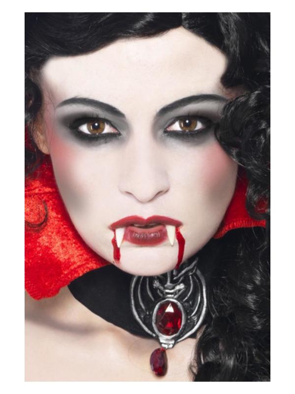Smiffys Make-Up FX, Vampire Kit, White & Red, Facepaint, Fangs, Blood Tube & Applicator