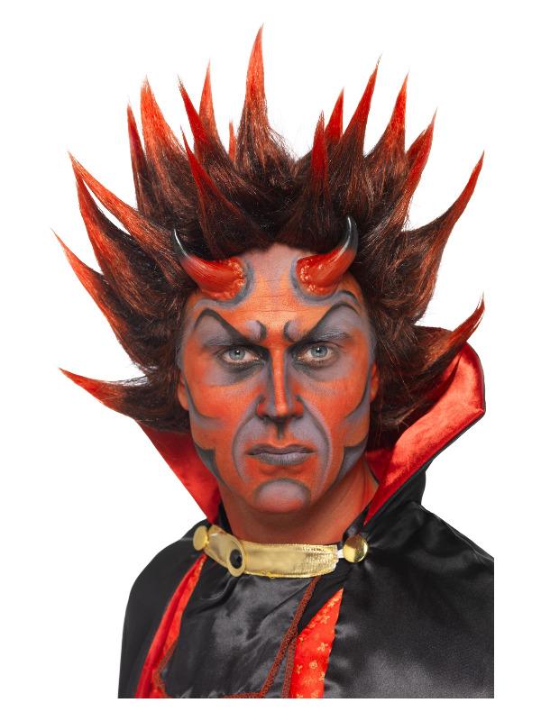 Devil Punky Wig, Red & Black, Spiky