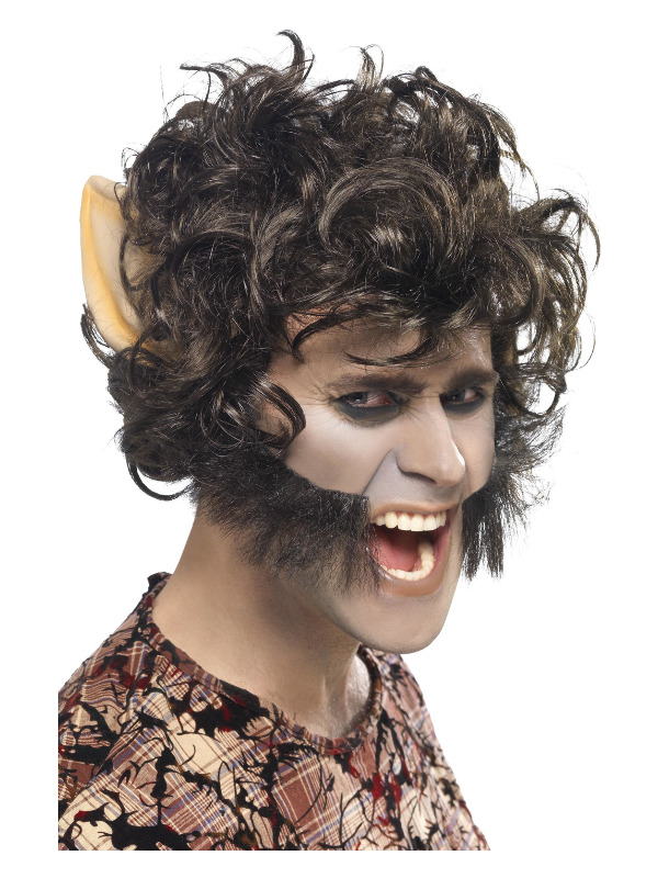 Werewolf Wig, Black, with Large Ears & Sideburns