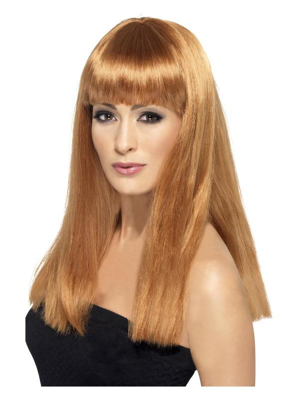 Glamourama Wig, Auburn, Long, Straight with Fringe