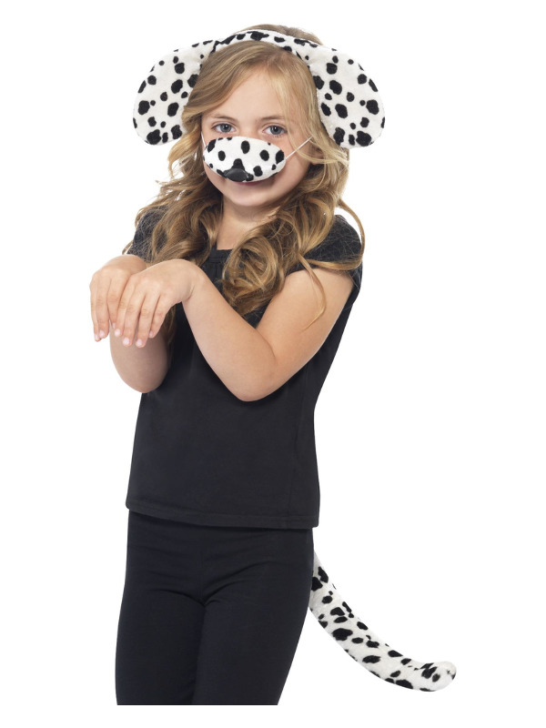 Dalmatian Kit, Black & White, with Ears on Headband, Tail & Nose
