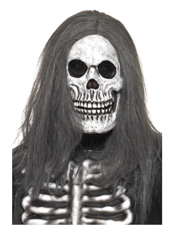 Sinister Skeleton Mask, Grey, Overhead, Foam Latex